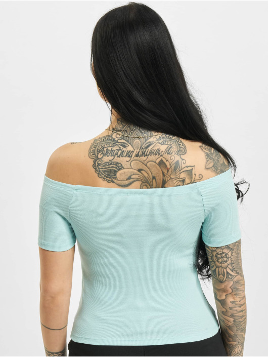 Urban Classics Topy/Tielka Off Shoulder Rib modrá