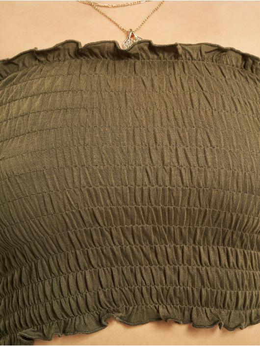 Urban Classics Topy/Tielka Cold Shoulder Smoke Cropped olivová