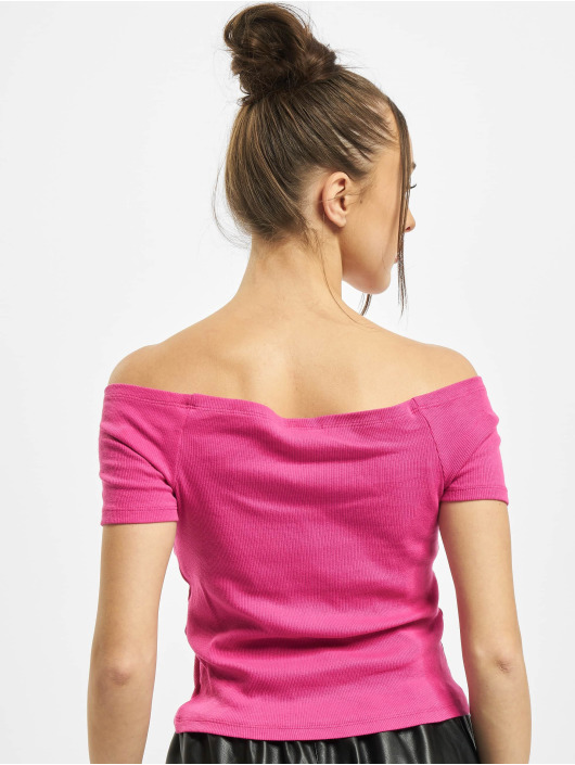 Urban Classics Topy/Tielka Ladies Off Shoulder Rib pink