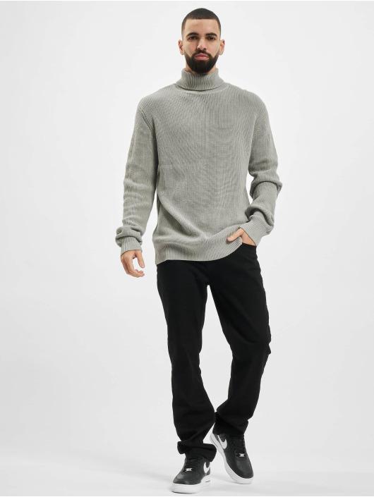 Urban Classics Trøjer Cardigan Stitch Roll Neck grå