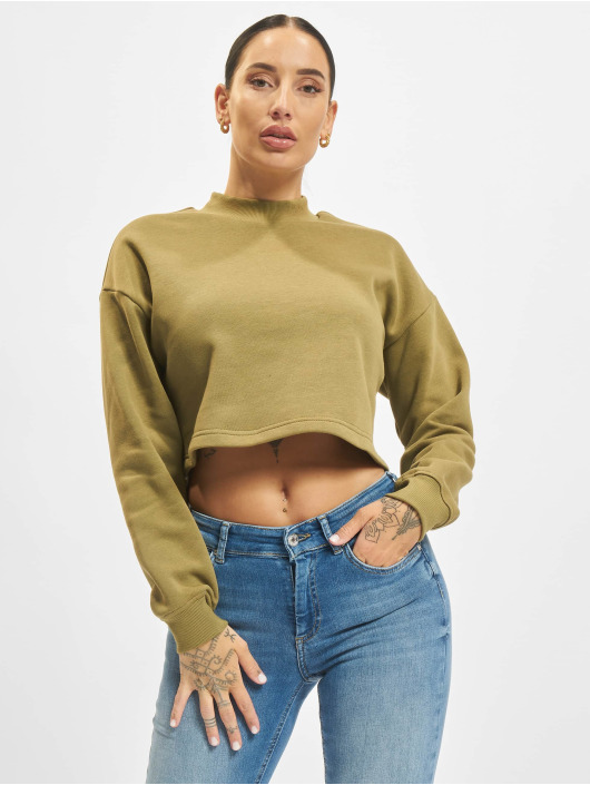 Urban Classics Trøjer Ladies Cropped Oversized High Neck oliven