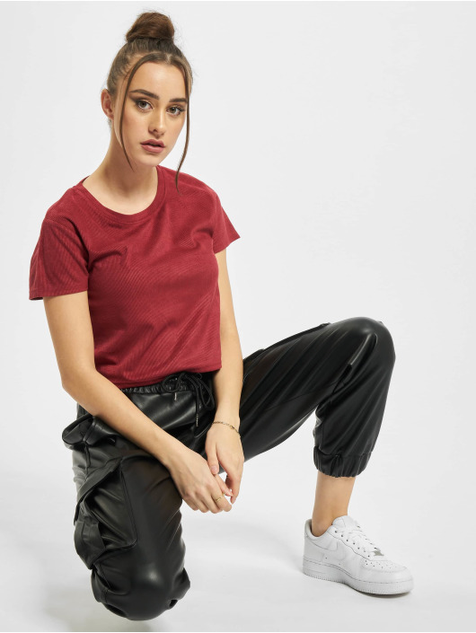 Urban Classics Tričká Ladies Cropped Peached Rib èervená