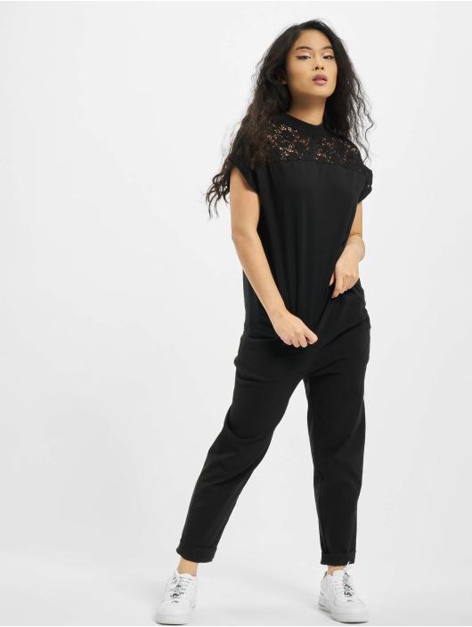 Urban Classics Tričká Lace Yoke èierna