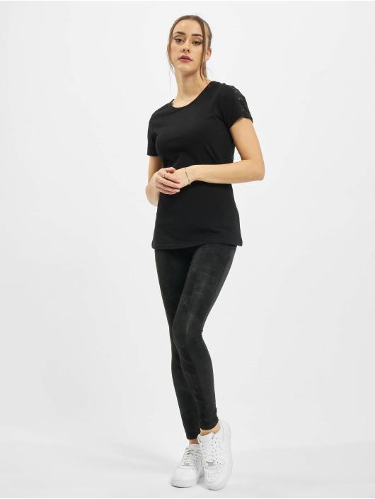 Urban Classics Tričká Ladies Lace Shoulder Striped Tee èierna