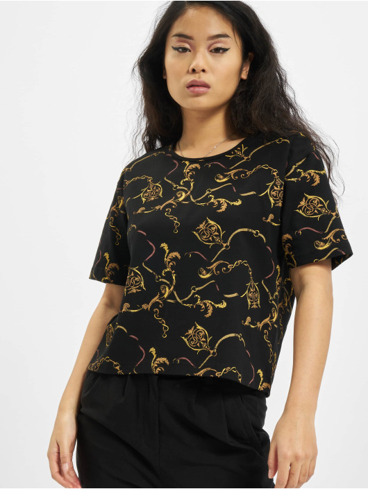 Urban Classics Tričká Ladies AOP Luxury Print Short Oversized Tee èierna
