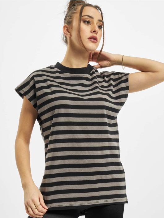 Urban Classics Tričká Ladies Y/D Stripe Tee šedá