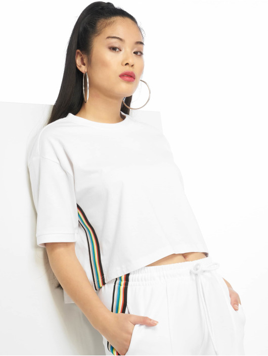 Urban Classics Tričká Multicolor Side Taped biela