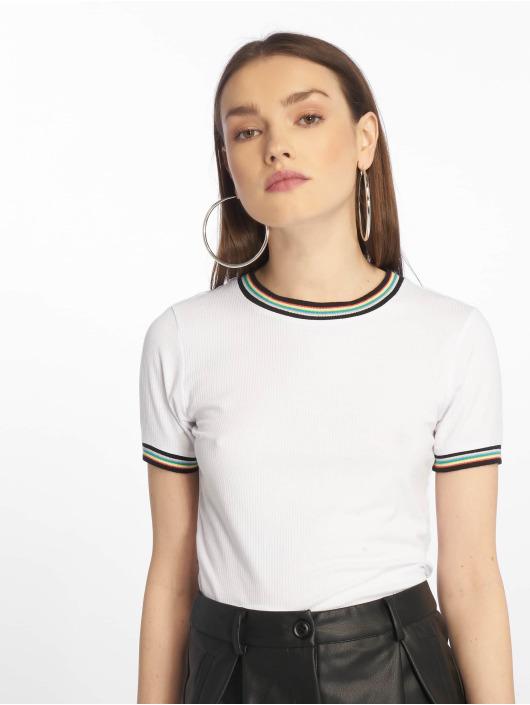 Urban Classics Tričká Short Multicolor Rib biela