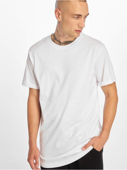 Urban Classics Tričká Short Shaped Turn Up biela
