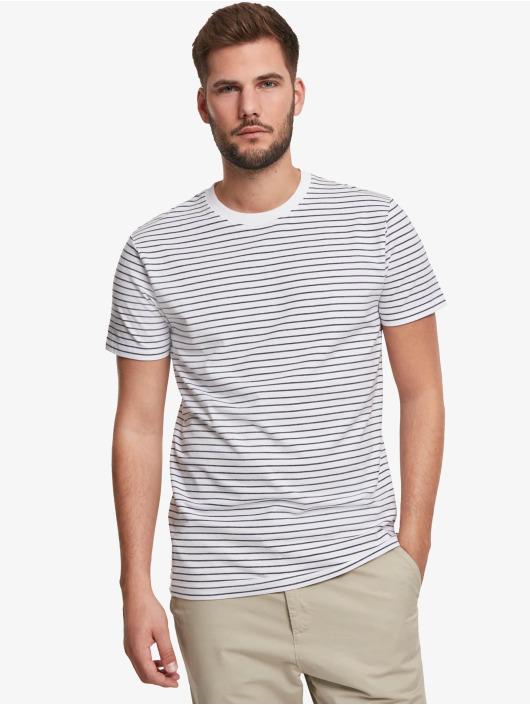 Urban Classics Tričká Basic Stripe biela