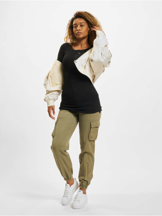 Urban Classics Tričká dlhý rukáv Ladies Long Rib Pocket Turnup èierna