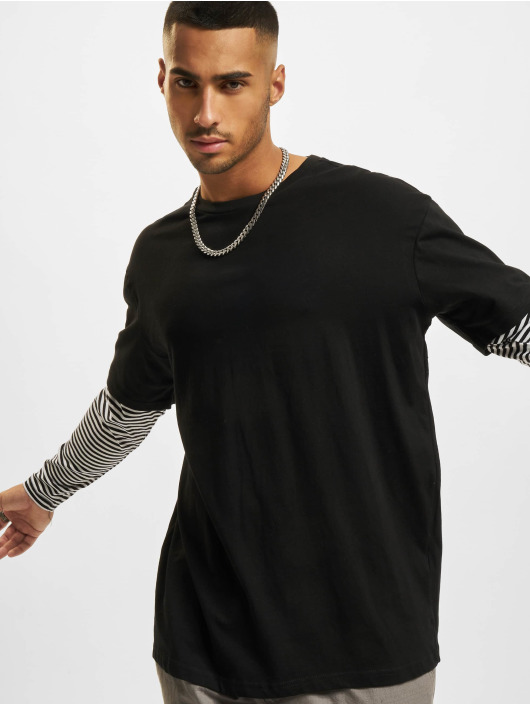 Urban Classics Tričká dlhý rukáv Oversized Double Layer Striped Tall èierna