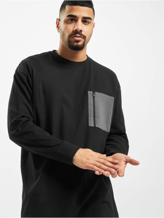 Urban Classics Tričká dlhý rukáv Boxy Big Contrast Pocket èierna