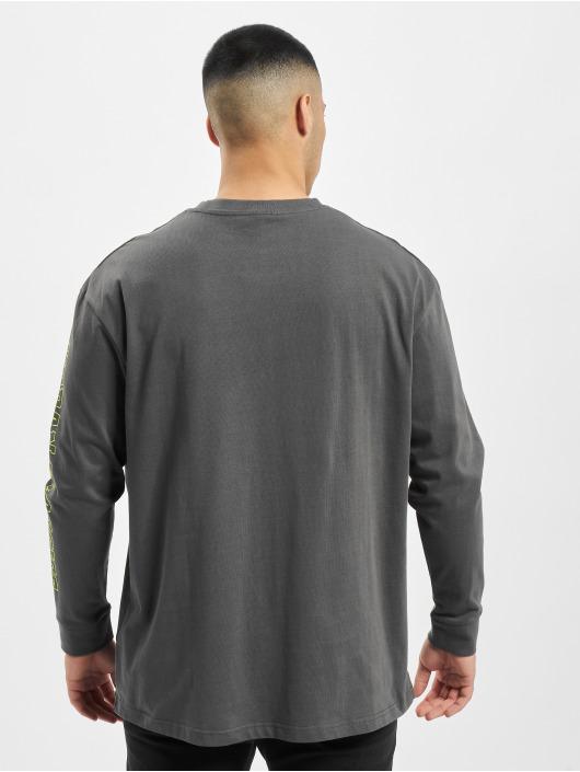 Urban Classics Tričká dlhý rukáv Neon Logo Boxy Pocket šedá