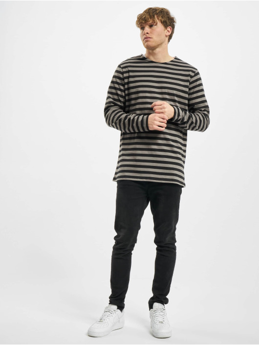 Urban Classics Tričká dlhý rukáv Regular Stripe LS šedá