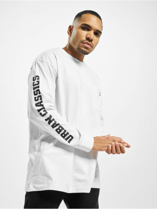 Urban Classics Tričká dlhý rukáv Sleeve Logo Boxy Pocket biela