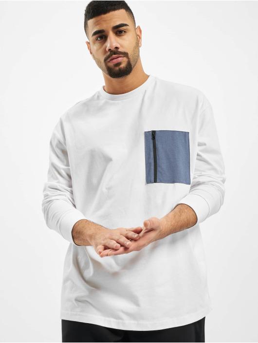 Urban Classics Tričká dlhý rukáv Boxy Big Contrast Pocket biela