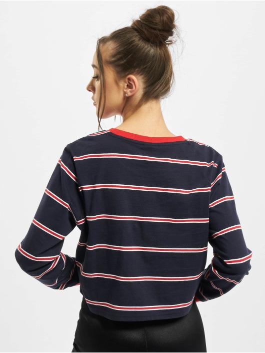 Urban Classics Tričká dlhý rukáv Ladies Short Yarn Dyed Skate Stripe LS modrá