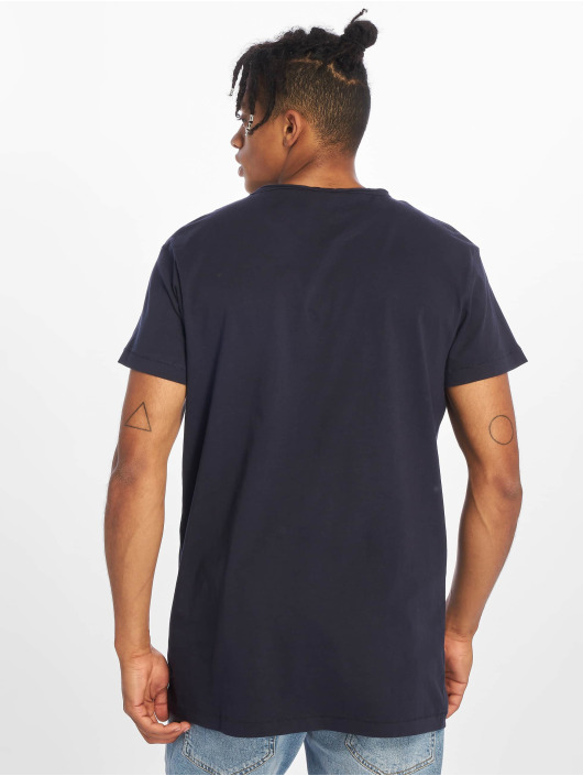 Urban Classics Tričká Pigment Dye High Low modrá