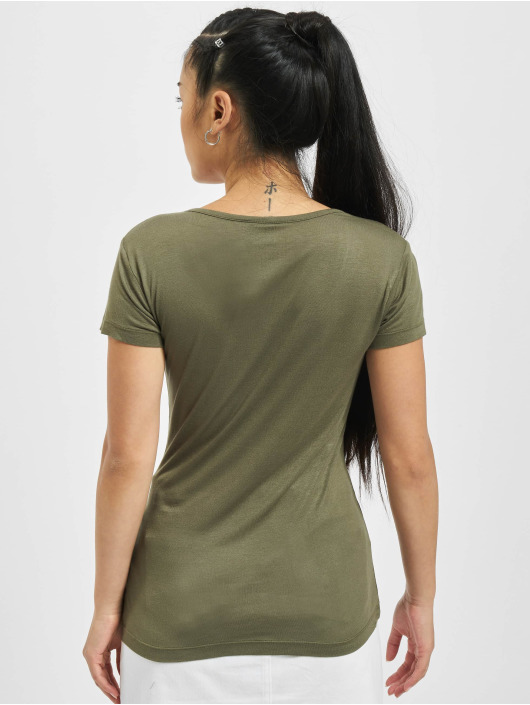 Urban Classics Tričká Ladies Basic Viscose olivová