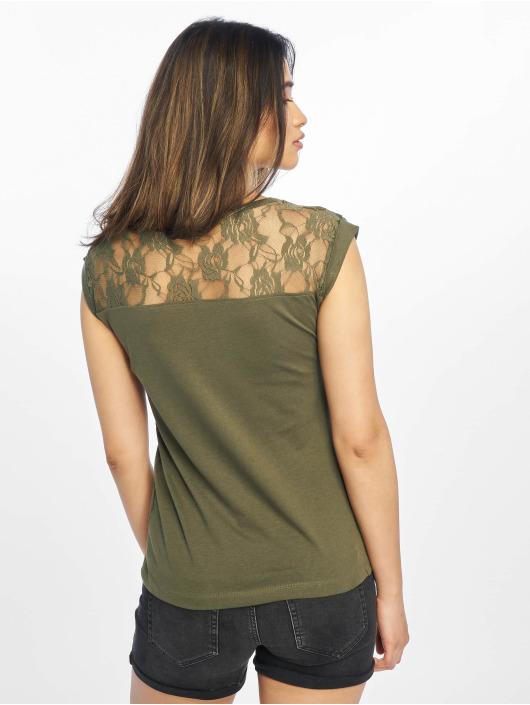 Urban Classics Tričká Top Laces olivová