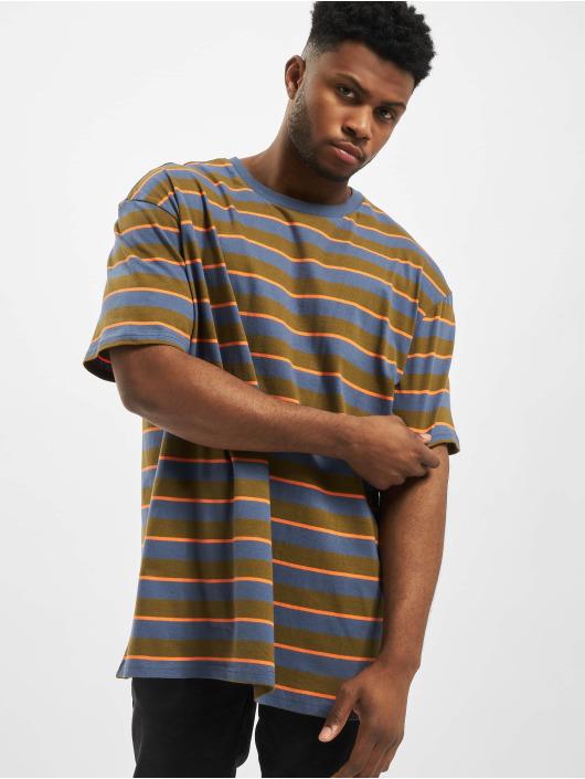 Urban Classics Tričká Yarn Dyed Oversized Board Stripe olivová