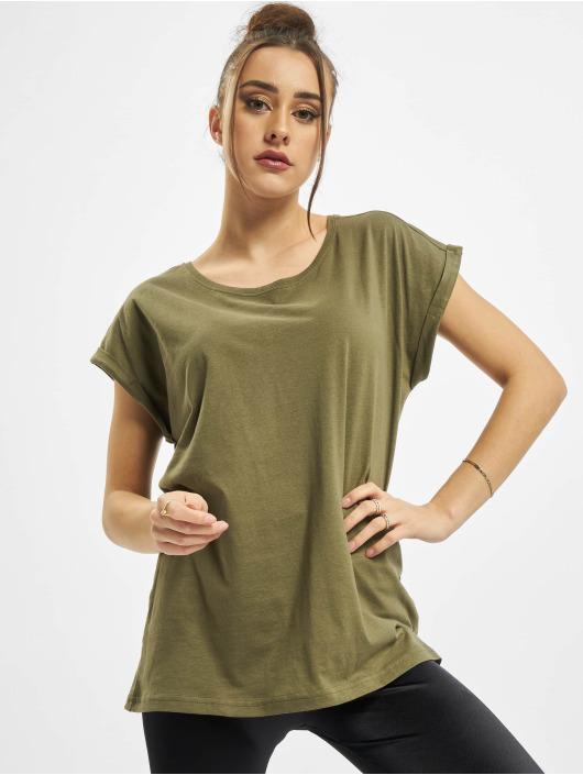 Urban Classics Tričká Ladies Organic Extended Shoulder olivová
