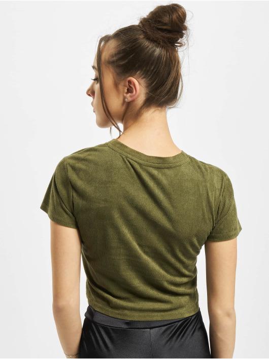 Urban Classics Tričká Ladies Cropped Peached Rib Tee olivová