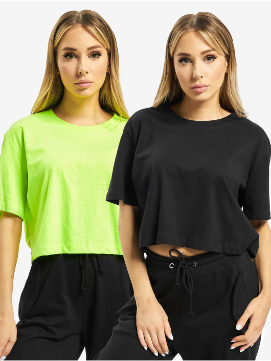 Urban Classics Tričká Ladies Short Oversized Neon 2-Pack zelená