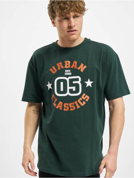 Urban Classics Tričká College Print Tee zelená
