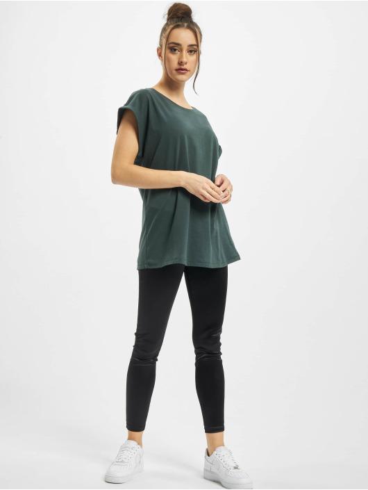 Urban Classics Tričká Ladies Extended Shoulder zelená