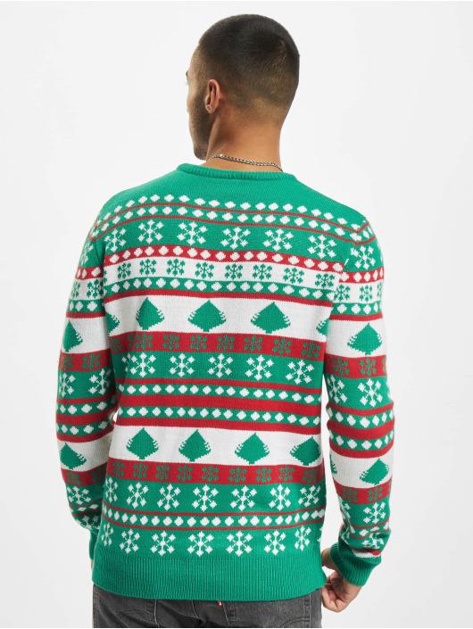 Urban Classics Tröja Snowflake Christmas Tree grön