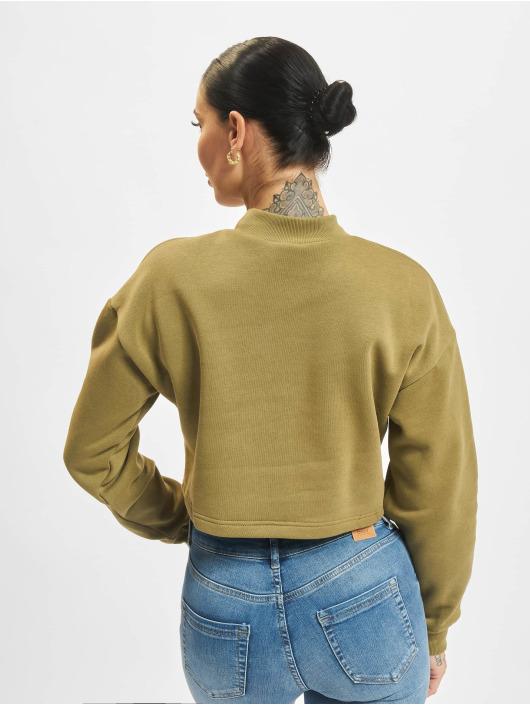 Urban Classics Tröja Ladies Cropped Oversized High Neck oliv