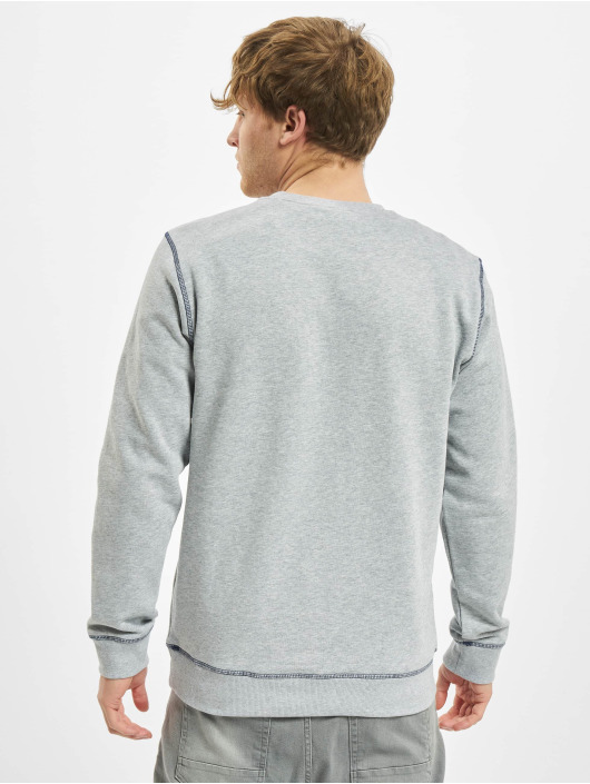 Urban Classics trui Organic Contrast Flatlock Stitched grijs