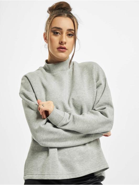 Urban Classics trui Ladies Oversized High Neck Crew grijs