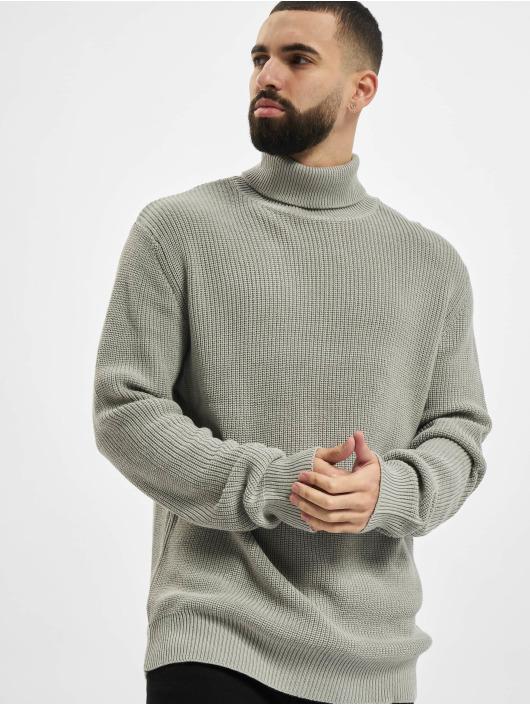 Urban Classics trui Cardigan Stitch Roll Neck grijs
