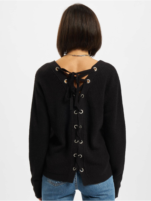 Urban Classics trui Back Lace Up zwart