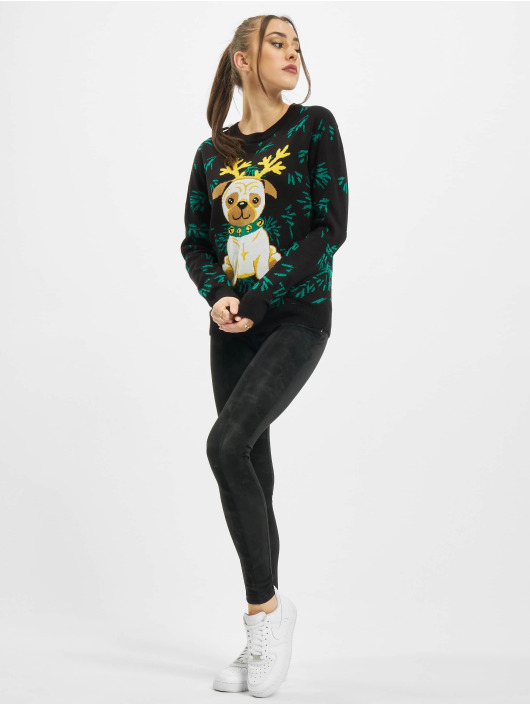 Urban Classics trui Ladies Pug Christmas zwart