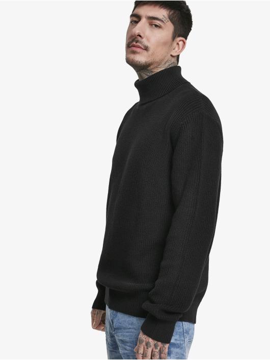 Urban Classics trui Cardigan Stitch Roll Neck zwart