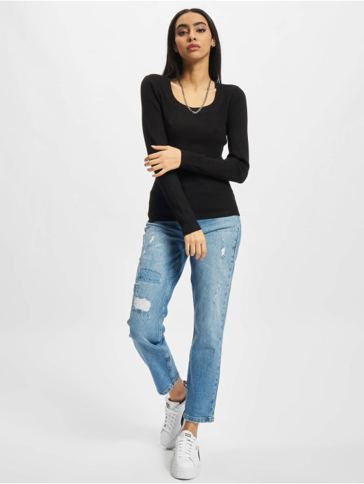 Urban Classics trui Ladies Wide Neckline zwart