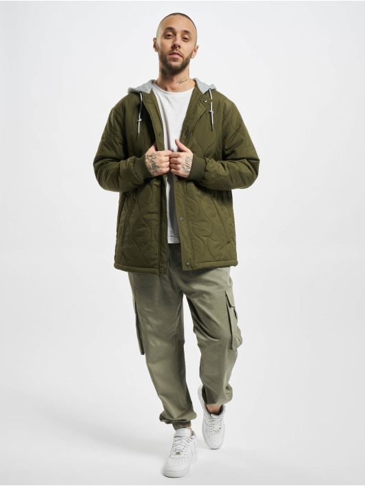 Urban Classics Übergangsjacke Quilted Hooded olive