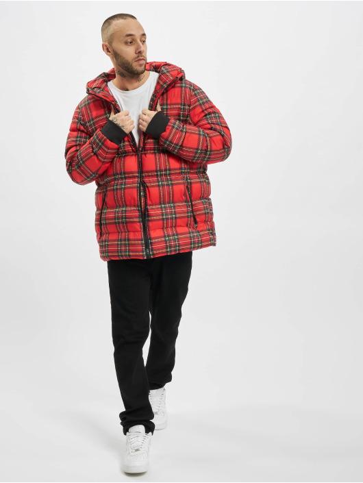 Urban Classics Veste matelassée Hooded Check rouge