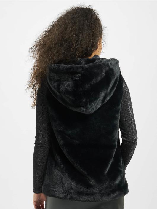 Urban Classics Veste sans manche Ladies Hooded Faux Fur noir