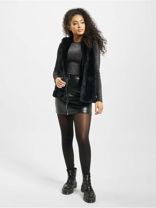 Urban Classics Vesty Ladies Hooded Faux Fur èierna