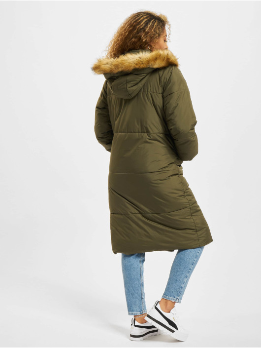 Urban Classics Vinterjakke Oversize Faux Fur oliven