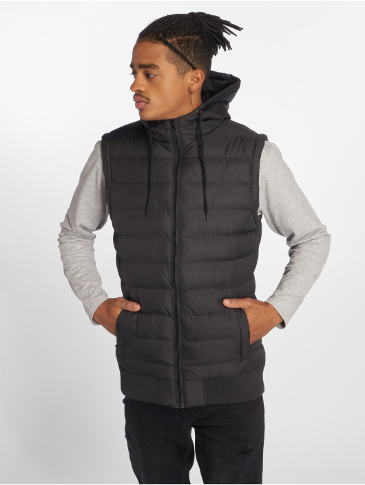 Urban Classics Weste Small Bubble Hooded schwarz