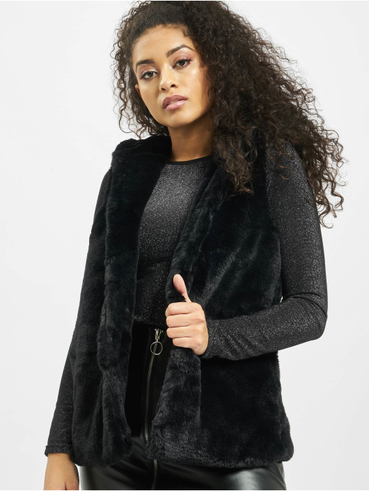 Urban Classics Weste Ladies Hooded Faux Fur schwarz