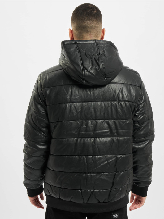 Urban Classics Winter Jacket Hooded Faux Leather black