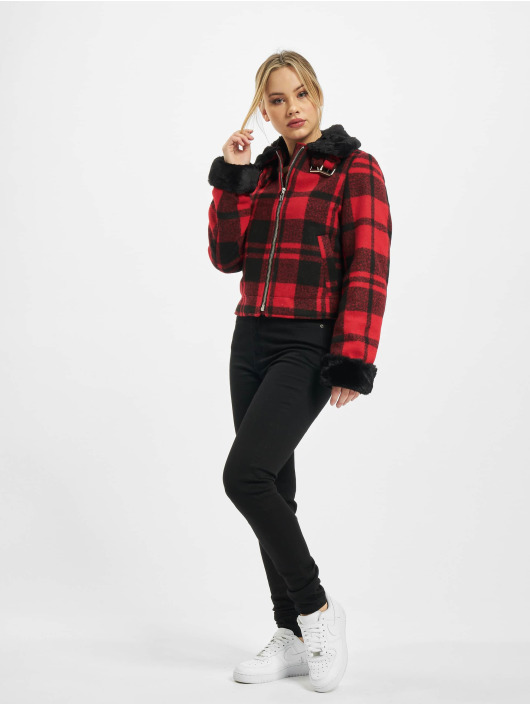 Urban Classics winterjas Ladies Plaid rood