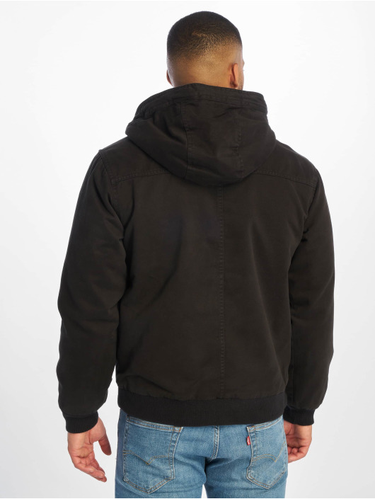 Urban Classics winterjas Hooded Cotton zwart